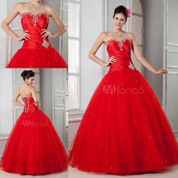 Wholesale New arrival red sweetheart beaded sequins lace up ball gown quinceanera dresses prom dress evening pageant