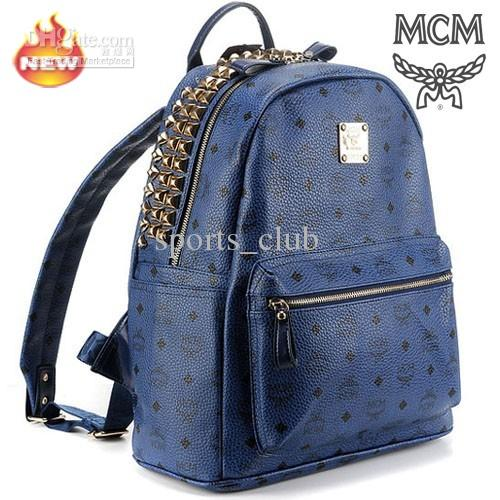 Elegant MCM Backpack Royal Blue Stark Visetos with Sparkling Rivet ...
