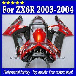 7 Gifts fairings bodywork for Kawasaki Ninja ZX-6R 2003 2004 ZX6R 03 04 ZX 6R glossy red with black custom Fairing kit SG63
