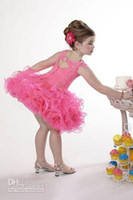 Wholesale 2013 Hot Lovely Pink Off Shoulder Cupcake Mini Beads Girl s Party Ball Gown Pageant Dresses