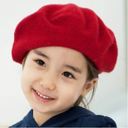 Wholesale Fashion Hat Factory Korean Preppy Style Fleece Children Girls Beret Hats Autumn Winter Baby Kids Caps Red Dk Blue And Khaki Colour QS365