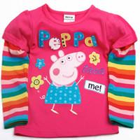 Wholesale F4098 Fuchsia Nova kids clothes m y Girls shirts t shirts for autumn Peppa Pig clothing cotton long sleeve plain t shirts