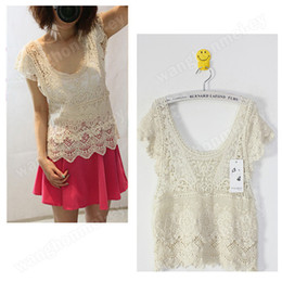 Wholesale Women Vintage Summer See Through Lace Crochet Sexy Style Cape Vest Top