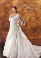 Wholesale Plus Size V neckline lace Taffeta Wedding Dresses Bridal Gown with sheer length sleeves