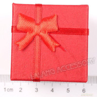Wholesale Red Square Paper Ring Gift Display Boxes Jewelry Packaging Box x40x32mm
