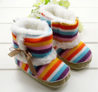 Wholesale Winter Newborn Infant Boots Rainbow Stripe M Toddler Baby s Boy girl First Walker Boots Baby Shoes pair QS366