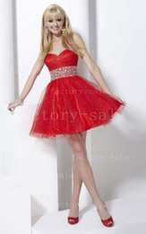 Wholesale 2013 Sexy Cocktail Dresses Sweetheart Mini Short Coral Red Beaded Crystals Knee Length Homecoming Dresses