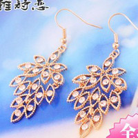 Wholesale crystal beads foliage earrings