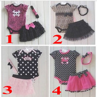Wholesale New arrival Baby Kids Pieces Clothes Romper Tutu Skirt Headband leopard Polka dot Set infant suits children romper