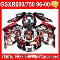 Wholesale 7giftsof SUZUKI GSXR750 RED C R750 GSXR GSXR600 RED FLAMES GSX R600 Fairing