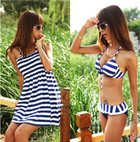 Wholesale 2013 Holiday Sale Navy Zebra Striped the Bathing Suit Bikini Women s Swimsuit Swimwear Bathing Suit M L XL Retail CWZ0035