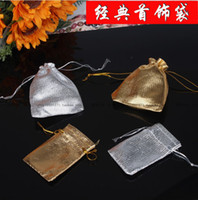 Wholesale x9cm Gold Silver Cloth Gift Bag Drawstring Bag Jewelry Packing Bag