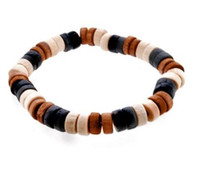 Bohemian Women's Gift Vintage African Style Colorful Hawaii Wooden Beads Bracelets Bangles Elastic Wood Bangle Fashion Jewelry Free Shipping Wholesale