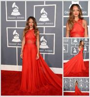 Wholesale 2013 th Grammy Awards Rihanna Red Carpet Dresses A Line Crisscross Halter Chapel Train Gowns Real Pictures Pageant Dresses