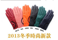 Wholesale 2013 new winter woman Single button sheepskin Warm gloves Fashion candy color driving gloves pairs