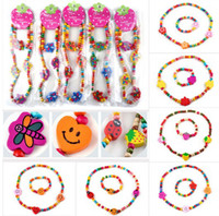 Wholesale 36Sets Wooden Bead Cute Kid Child Necklace Bracelet Jewelry Set Butterfly Heart Shape Children Bracelets TN07