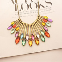 Wholesale Gem Necklace Sliding pendants colored crystal ancient bronze European and American Major Suit Star Style Womens Necklaces A325
