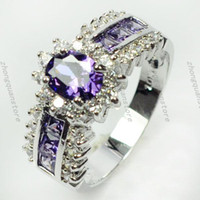 amethyst gold jewellery - Jewellery Fashion Amethyst men lady s KT white Gold Filled Ring sz6