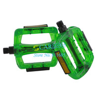 Wholesale New Deep Green Plastic Fixed cog pedals Cycling Mountain Bike pedals Road Bicycle Pedals Transparent Pedals