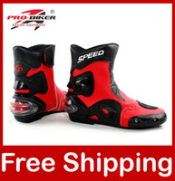 Wholesale Motorcycle Boots Pro biker SPEED Bikers Moto Racing Boots Motocross Leather Shoes A004 black white red