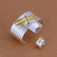 925 mis bijoux en argent mariage Bijoux Mode féminine définir or Dragonfly Bangles bijoux bagues mis Vente chaude