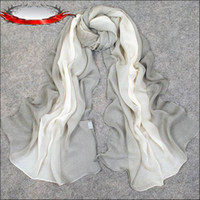 Wholesale Hot Sell Spring And Autumn Long Chiffon Georgette Scarves Hand Painted Gray Spell Color Gradual Change Color Shawl