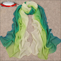 Wholesale Hot Sell Spring And Autumn Long Chiffon Georgette Scarves Deep Grass Green Spell Color Gradual Change Color Shawl