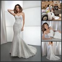 Sexy Appliques Sweetheart Sexy Simple Lace Mermaid Demetrios Wedding Dresses Chapel Train Beaded Detachable Belt Bridal Gown