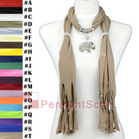 Wholesale 12PCS Elegant Mental Alloy Elephant Pendant Light Brown Necklace Jewelry Scarf Pendant Scarf With Beaded Tassels SC0015T
