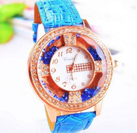 Wholesale Hot selling Luxury Diamond Quartz Wrist Watches leather Watches Fashion High quality Watch Mix colors