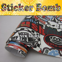 Wholesale Awesome Style HellaFlush Sticker Bomb Vinyl Air Bubble Free For Car Wrap FedEx Size m Roll