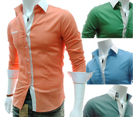 Wholesale 2999 HOT New Fashion Luxury Slim candy color Men s Long Sleeve Shirts Casual Slim Shirt