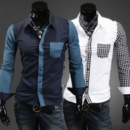 Wholesale 2996 HOT New Fashion Luxury Slim plaid pocket spell color Men s Long Sleeve Shirts Casual Slim Shirt