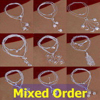 Wholesale Mixed Order quot Sterling Silver Plated Triple Pendants Lines Ropes Necklace NL112