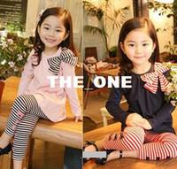 Wholesale girls stripe outfit long sleeve dress leggings girl s set stripe korean girls bow suit autumn clothing children bow suits