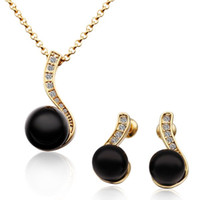 Wholesale Fashion Jewellery Gift K Yellow Gold Plated Natural Black Pearl Top Quality Rhinestone Crystal Charm Necklace Earring Jewelry Sets TZ313