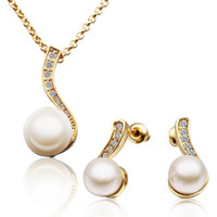 Wholesale New Fashion Jewellery Gift K Yellow Gold Plated Natural Pearl Top Quality Rhinestone Crystal Charm Necklace Earring Jewelry Sets TZ314