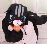 Wholesale Black Cat fleece onesie pajamas pyjamas costume cosplay adult romper S M L XL