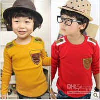 Wholesale boys fashion t shirt children long sleeve tops cool bottom shirt kids costume popular garment autumn clothing red yellow hzgggmy