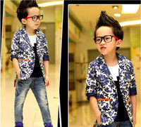 Wholesale Boys Clothes Kids Blue Flower Jacket Child Clothing Casual Coat Fashion Printed Jacket Long Sleeve Tops Coats Children Outwear Boys Jackets