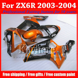 Custom motorcycle fairings for Kawasaki ZX6R 2003 2004 black orange ABS bodywork fairing kit ZX-6R Ninja 03 04 ZX 6R with 7 gifts xh17
