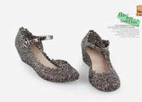 Women Wedge EVA Free shipping -2013 new classic women high-heeled jelly shoes slope with sparkling sequins hollow nest hole crystal plastic sandals 395