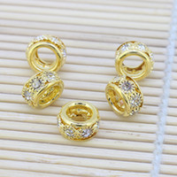 Round rhinestone spacer beads - 100pcs Gold Plated Round Clear Crystal Rhinestone Loose Spacer Beads Fit Charm European Bracelet Beads