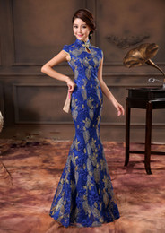 Wholesale Vitage Sapphire Wedding Dress Cheongsam Water Neck Satin Lace Slim Mermaid High Collar Chinese Cheongsam Ankle Length Party Pageant Dress