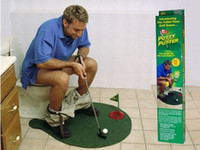 Wholesale Potty Putter Putting Toilet Bathroom Golf Game GREEN CUP FLAG BALLS Novelty GIFT