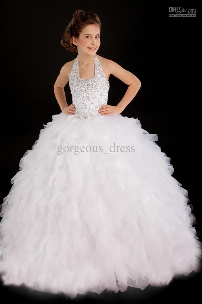 Buy white halter pageant dresses little girl tiered floor length back ziper ball gown flower dress wedding party