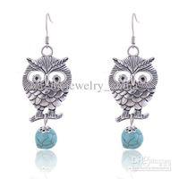 Asian & East Indian owl earrings - Vintage Owl Turqoise Beads Pendant Earrings marc hoop gold flower feather earring the wings for women cartilage earring abalone earings