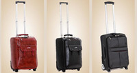 Carry-On Built-in Real Leather luxury rolling luggage fashion rolling suitcase