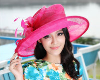 Wholesale Women Hats For Church Winter Sinamay Hat Top Hat Millinery Sinamay Fabric Base Wide Brim Spring Summer Winter Sun Shading Beach Casual Hat