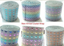 Wholesale Colorful Rows Diamond Mesh Rhinestone Ribbon Crystal Wrap For Wedding Party Decoration diamond wrap for party backgroup